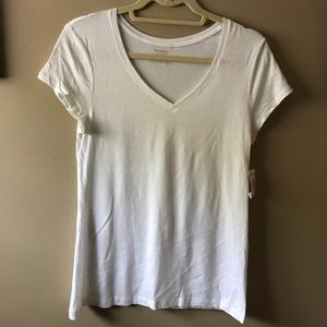 Dress Barn White V-neck T-shirt